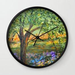 Serene Meadow, Impressionism Landscape Wall Clock