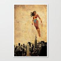 justice league Canvas Prints featuring Wonder Women justice league by Edmond Lim