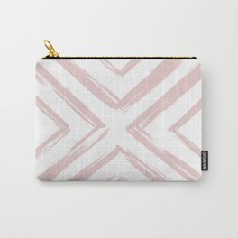 Minimalistic Rose Gold Paint Brush Triangle Diamond Pattern Carry-All Pouch