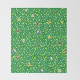 animal crossing cute grass pattern Throw Blanket