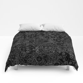 Clockwork B&W inverted / Cogs and clockwork parts lineart pattern Comforters