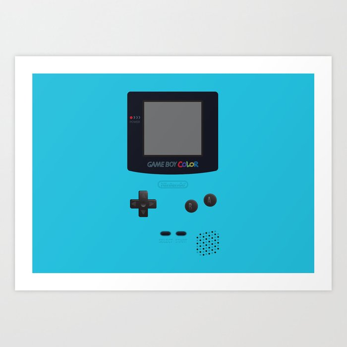 Gameboy Color Light Blue Version Art Print By Cedricstouati