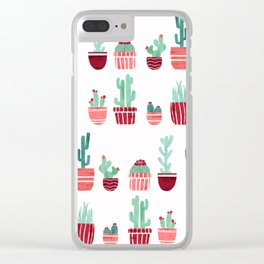 Pink Cacti Clear iPhone Case