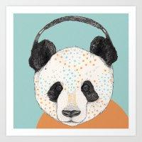 polkadot Art Prints featuring Polkadot Panda by Sandra Dieckmann
