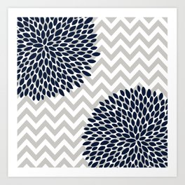 Chevron Floral Modern Navy and Grey Art Print
