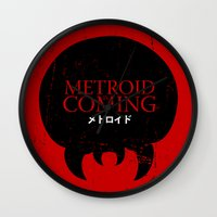 metroid Wall Clocks featuring House Metroid by Alecxps