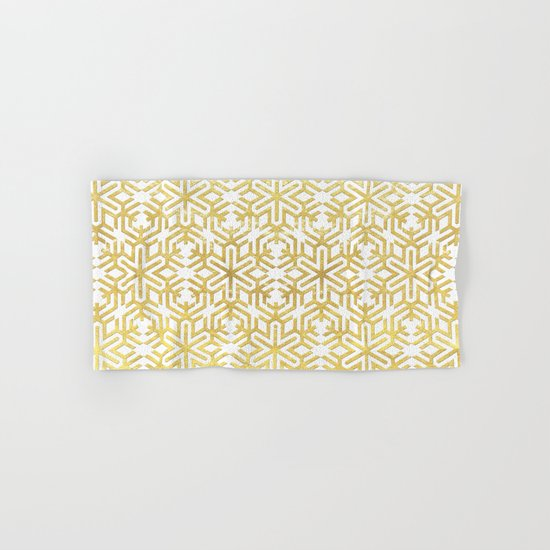 White and Gold Snowflake Pattern Hand & Bath Towel