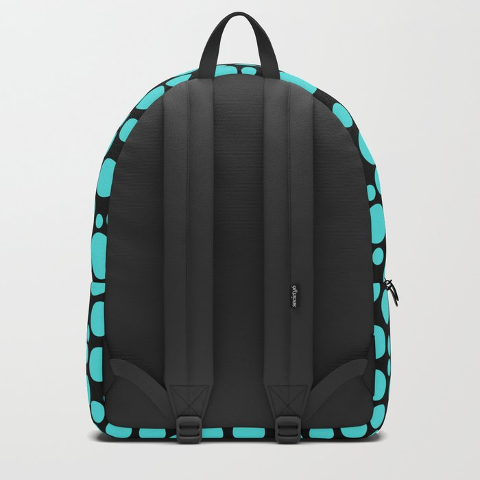 Turquoise polka dots on a black background. Backpack