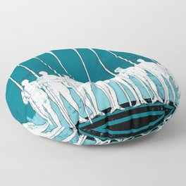 Rowing Crew in White & Blue Floor Pillow