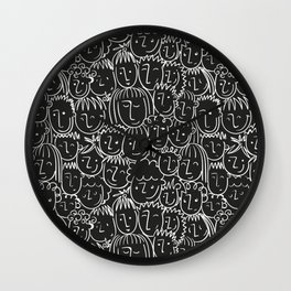 Black & White Hand Drawn People Pattern Wall Clock