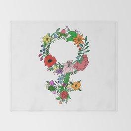 Feminist flower in color Throw Blanket