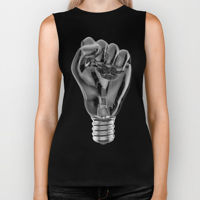 Protest fist light bulb / 3D render of glass light bulb in the form of clenched fist Biker Tank