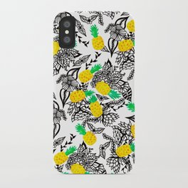 Tropical watercolor pineapples floral pattern illustration iPhone Case