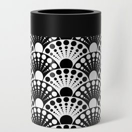 black and white art deco inspired fan pattern Can Cooler