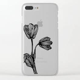 black and white flower drawing Clear iPhone Case