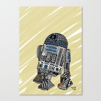 r2d2 Canvas Prints featuring R2D2 by Rebecca Bear