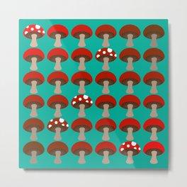 Mushroom | Ombre | Peacock Green Metal Print