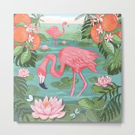 Flamingo and Waterlily Metal Print