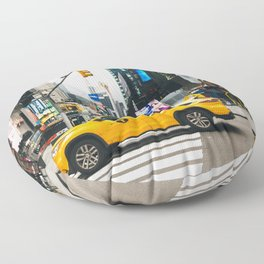 Taxi in Times Square, New York Floor Pillow