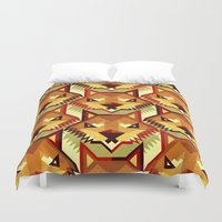 yetiland Duvet Covers featuring The Bold Wolf pattern by Yetiland