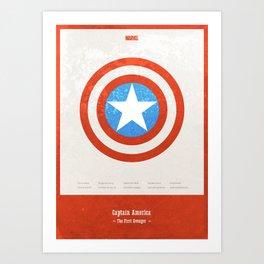 Captain America - minimal poster Art Print