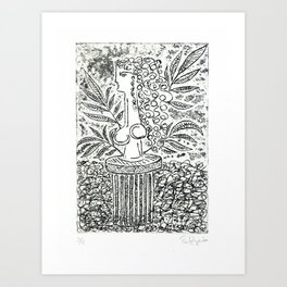 Sculpture in Garden Art Print