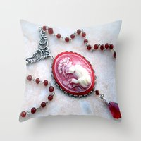 agate Throw Pillows featuring agate,agate cameo,gemstone by ira gora