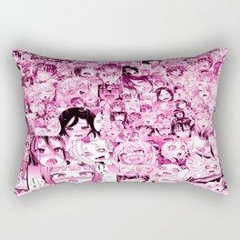 Ahegao Hentai Collage pink Rectangular Pillow