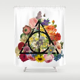Floral Deathly Hallows - Black Shower Curtain