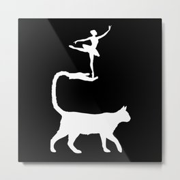 The Cat and the Ballerina-Silhouette-Animal-Surreal-Fantasy Metal Print