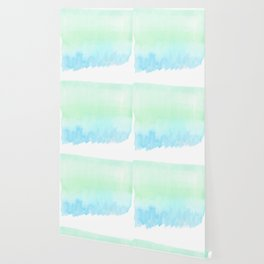 Hand painted turquoise teal blue watercolor ombre brushstrokes Wallpaper