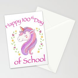 100Th Day Of School Unicorn Funny Girls Stationery Cards