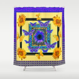 PURPLE BUTTERFLIES SUNFLOWERS MODERN ART Shower Curtain