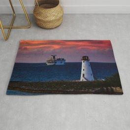 Cruise Ship Leaving Nassau Harbor Lighthouse Sunset Rug