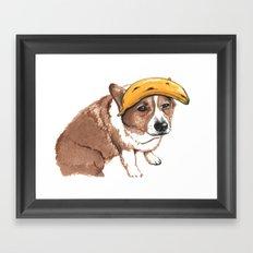 Corgi and banana Framed Art Print