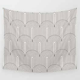 Art Deco Arch Pattern IX - Black & White II Wall Tapestry