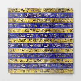 Golden Egyptian  hieroglyphs pattern on  blue Metal Print