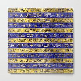 Golden Egyptian  hieroglyphs pattern on  blue Metal Print