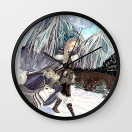 Goddess of Winter and Hunt Wall Clock