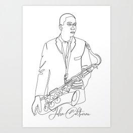 Coltrane's jazz line art (black line)  Art Print