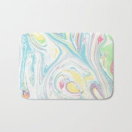 Hand painted abstract green yellow pink teal watercolor marble Bath Mat