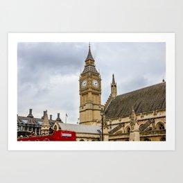 Big Ben London - Red Bus - United Kingdom Art Print