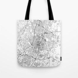 Austin White Map Tote Bag