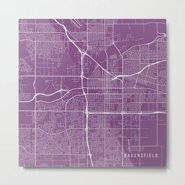 Bakersfield Map, USA - Purple Metal Print