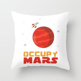Occupy Mars Planets Galaxy Outerspace Rocketship Scientists Astronauts Gift Throw Pillow