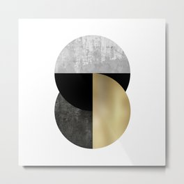 Moon Phase, Mid Century Modern,Scandinavian Abstract Metal Print