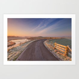 I - Typical Dutch landscape with a dike, in winter at sunrise Art Print