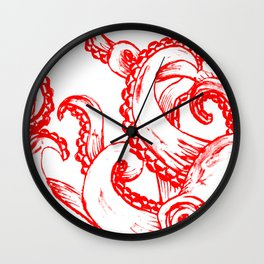 Octopus - Red and White Wall Clock