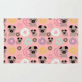 Pug and donuts pink Rug