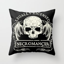 Legally Licensed Necromancer Throw Pillow